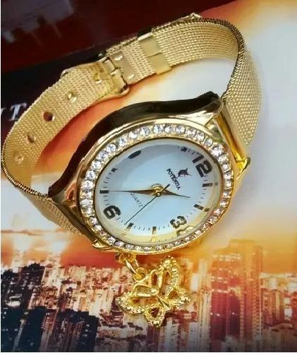 Relógio Feminino Dourado Luxo Resistente E Barato