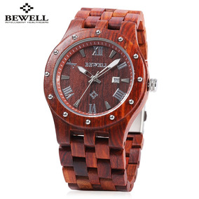 Bewell Zs - W109a Hombres Cuarzo Reloj Ronda Marcar De Mader