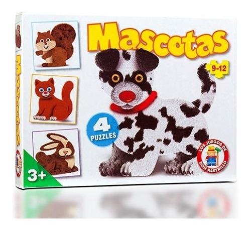 Imagen 1 de 7 de Puzzle Rompecabezas Mascotas 9 Y 12 Piezas 4 En 1 Ruibal Edu
