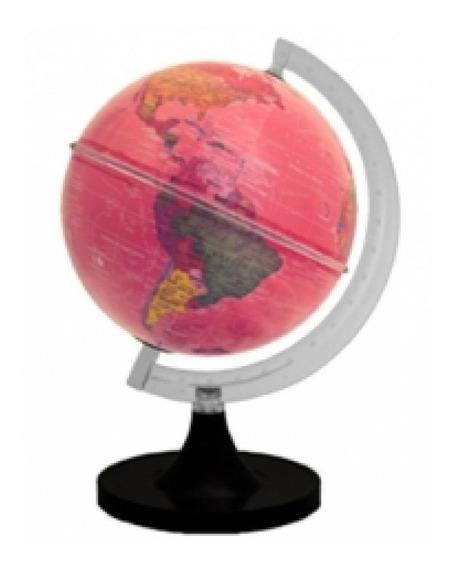 Globo Terrestre Aquarela Rosa 21cm Iluminado Com Led Bivolt