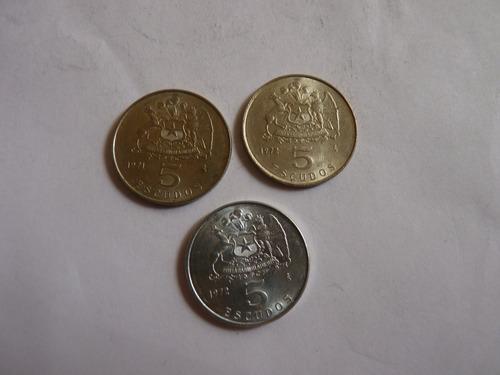 Monedas De Chile Serie Completa 5 Escudos ( N C )