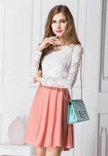 Vestido Talla S Con Encaje Blanco Nuevo Importado En Stock