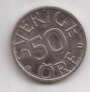 Suecia Moneda De 50 Ore Año 1984