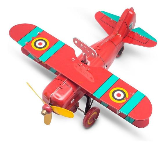 Avión A Cuerda Hojalata Retro Tin Toy Biplane Fighter Gato