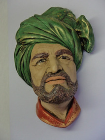 Escultura Rostos Cara Nacionalidades Gesso Anos 70 Raridades