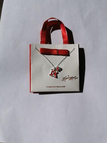 Collar Letra R Monnie Mouse Con Piedra Swarovki Disneyland
