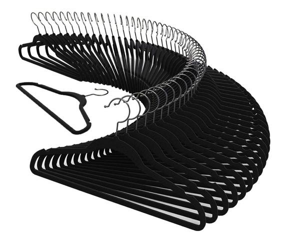 Kit 100 Cabide Veludo Slim Antideslizante Ultra Fino