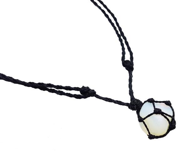 Colar De Pedra Da Lua Real Opalina Com Fio Preto Hippie Fio