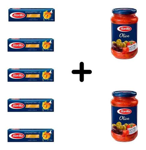 Imagen 1 de 1 de Fideos Barilla Spaghettini 5 Paquetes + 2 Salsas De Olivas