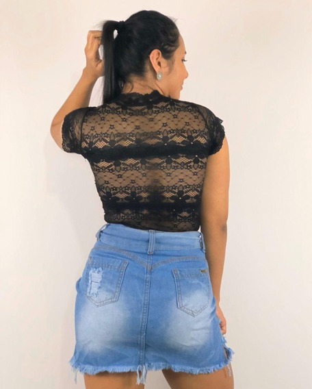 Saia Jeans Feminina Luxo Premium