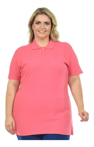 Kit 3 Camisa Polo Piquet Feminina Plus Size Xg Camiseta