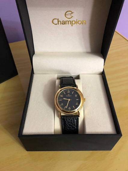 Relógio De Pulso Champion Ch22242 Dourado E Preto Couro