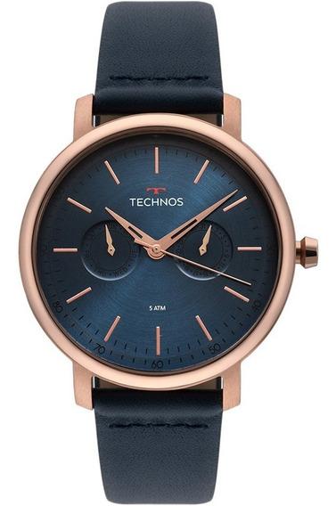 Relógio Technos Masculino Rose Pulseira De Couro 6p25bs/2a