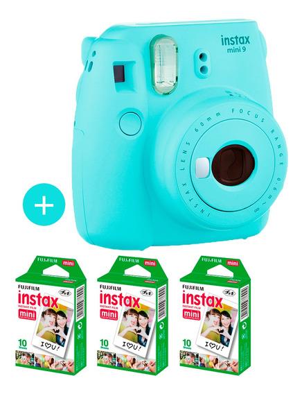 Câmera Instax Mini 9 Azul Aqua + 30 Fotos
