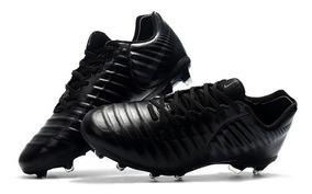 Chuteira Nike Tiempo Legend 7 Black Silver Profissional Acc: