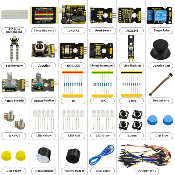Kit Arduino K4 +joystick+rgb Led+19projects +adl345 +uno R3