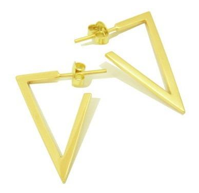 Brinco Triângulo Em Ouro 18k (750)