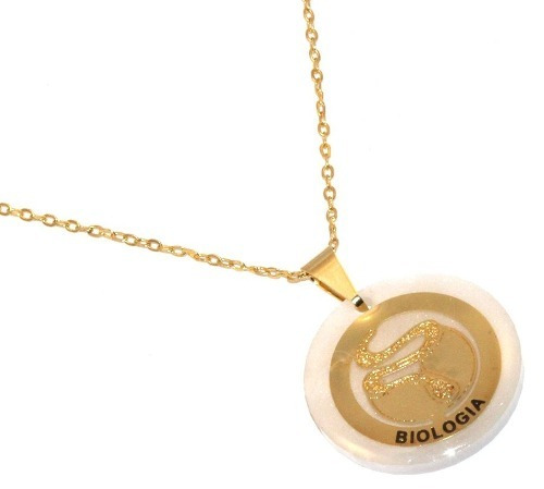 Colar Profissão De Biologia Biologa Bichos Folheado Ouro 18k