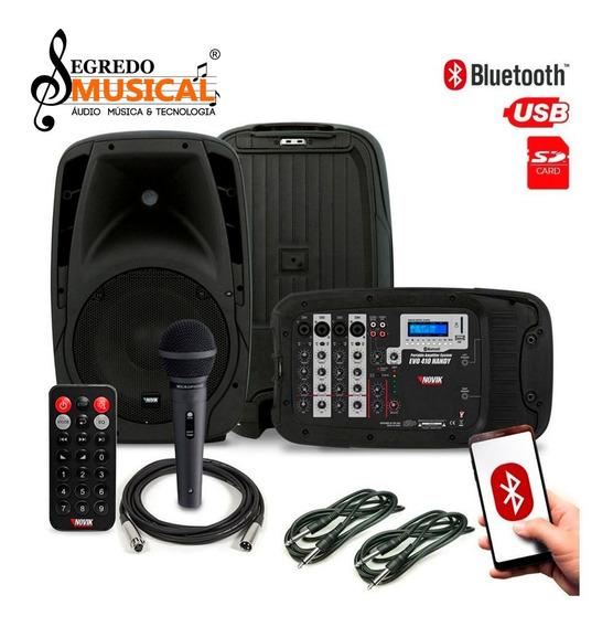 Sistema De Som Novic Evo410 Handy Caixas/mesa/usb/bluetooth