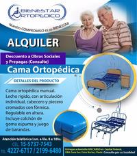Alquiler Cama Ortopedica Con Colchón Y Barandas