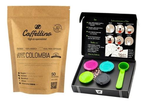 Capsulas Nespresso Recargables Caffettino X4 + Café Colombia