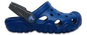Zapato Crocs Unisex Infantil Swiftwater Clog Azul / Gris