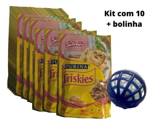 Imagem 1 de 4 de Kit Para Gatos 10 Sachês Friskies Salmão 85g E Bolinha Guizo