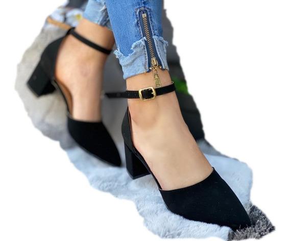 Sandalia Zapatilla Tacon Bajo Moda Otoño Invierno Para Mujer