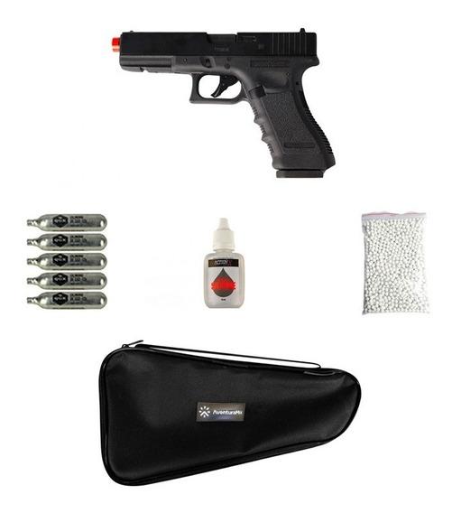 Pistola Airsoft Co2 Glock G17 Blowback + Acessórios + Capa.