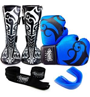 Kit Muaythai Kickboxing Spank Luva Caneleira Bandagem Bucal