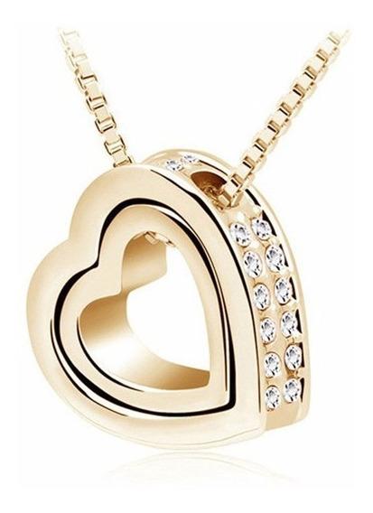 Colar Feminino Elegante Com Pingente Dois Corações Dourado