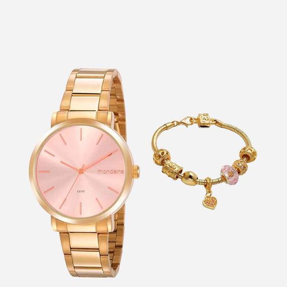 Relógio Feminino Seculus Com Conjunto Dourado 53920lpmgde2k1
