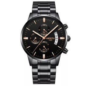 Relógios Nibosi Preto Ponteiros Rose 100%funcional