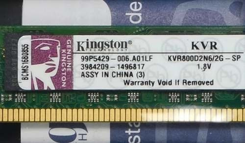 Memória Kingston Ddr2 2gb 800mhz- Pc2-6400 Original- Leia