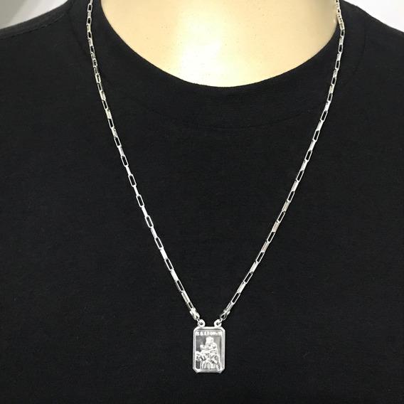 Escapulário Masculino Prata 925 Medalha Grande 60cm - Lindo