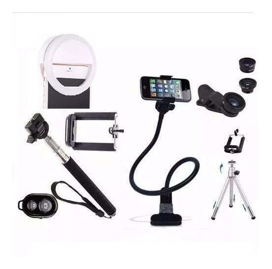 Kit Youtuber 2- Pau Self Lentes Mini Tripé Led Flash Suporte