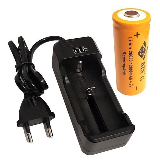 Kit Carregador + Bateria 26650 12800mah Lanterna Led X900