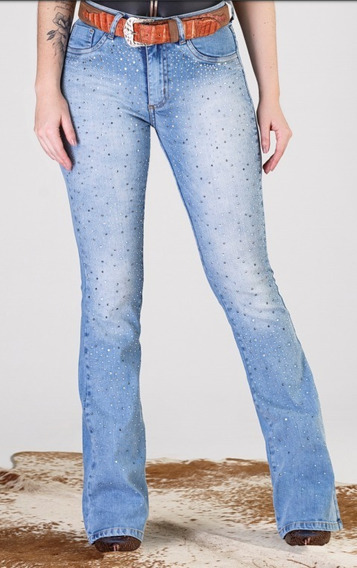 Calça Jeans Feminina Flare Minuty Country Com Pedraria 19804