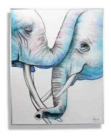Imagen 1 de 4 de Cuadro Decorativo Te Amo (elephants) Këssa Muebles