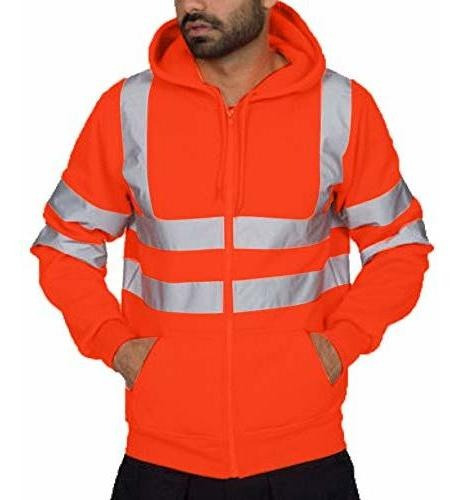 iYYVV Mens Road Work High Visibility Pullover Long Sleeve Hooded Sweatshirt Tops Blouse