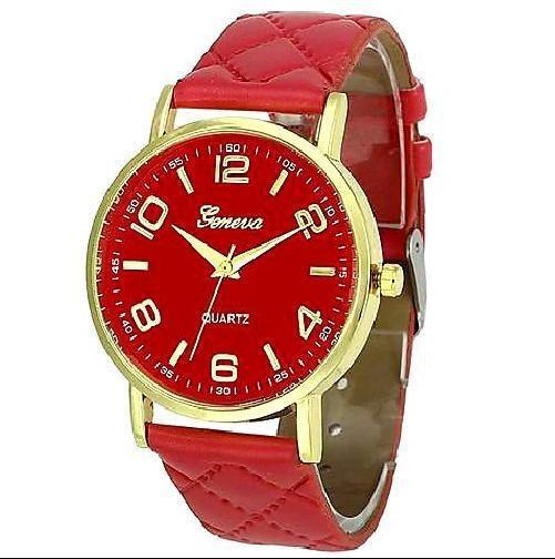Relógio Feminino Geneva Dourado Pulseira Matelassê Vermelho
