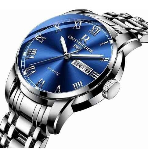 Relógio De Pulso De Quartzo Aço Inoxidável-azul