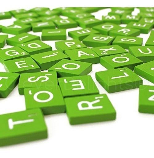200 Baldosas De Madera Scrabble - Verde Lima - 2 Juegos Comp