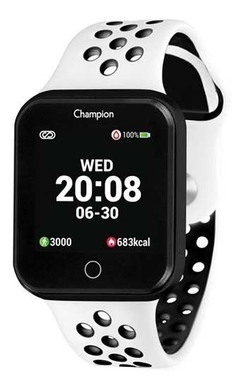 Relogio Smart Watch Champion Unissex Ch50006k Preto C Branco