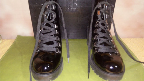 Botas De Charol Febo Color Negro No 37