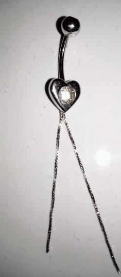 Piercing Umbigo Ouro Branco, Coração Com Pedra Brilhante