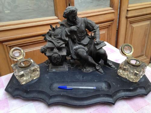 Escultura Miguel De Cervantes Tintero Bronce Y Marmol Negro