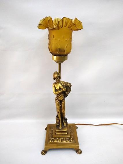 Abajur Antigo Estátua Em Bronze