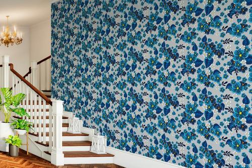 Imagem 1 de 3 de Papel De Parede Quarto / Sala Floral Azul Adesivo - 775