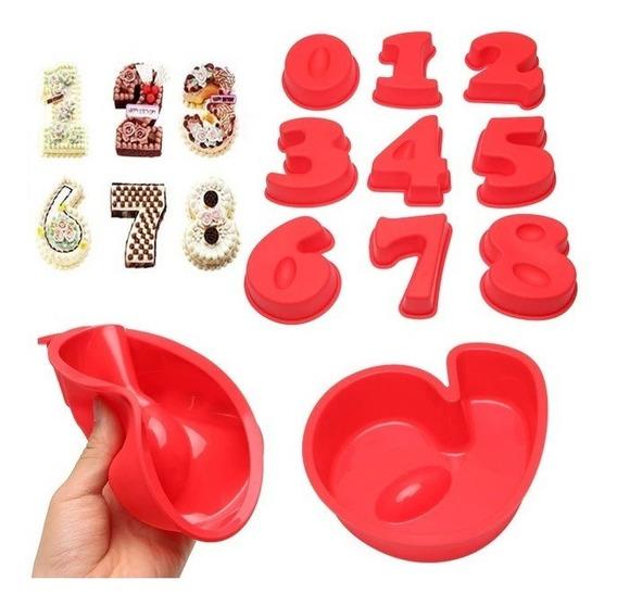 Molde Numeros Gigante Silicona 0 - 9 Ideal Reposteria Diseño